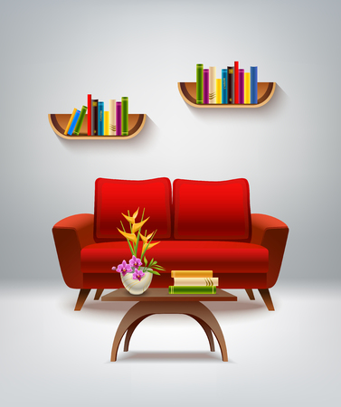 Room Cartoon Interior With Armchair Lamp Table And Books Vector ...