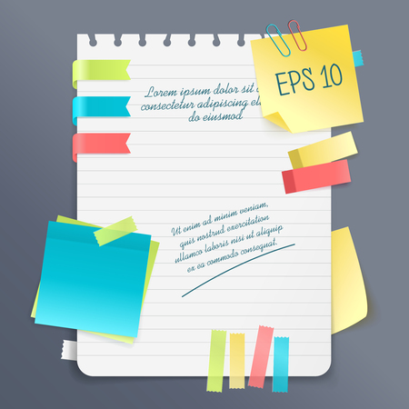 Paper note realistic composition with notepad and sticky sheets of various colors and size vector illustration