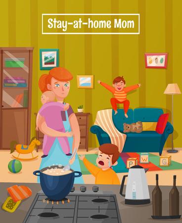 Barwiony macierzyństwo męczył macierzystego plakat z matką ma wiele dzieci i mnóstwo obowiązki domowe wektoru ilustraci