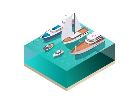 Ships isometric set with water surface and various vessels including wind-driven yacht and motor boats vector illustration