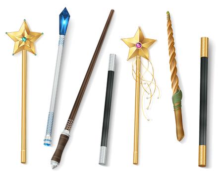 Verzameling van magische toverstokken van verschillende vormen met sterren en juweel realistische vectorillustratie