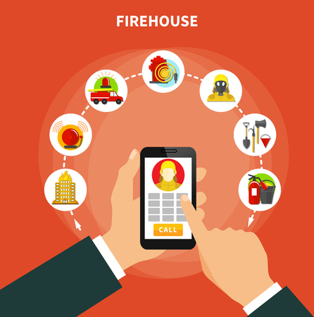 Firefighting concept with firehouse work and equipment icons flat vector illustration