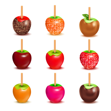 Whole candy apples covered in hard toffee caramel sugar or chocolate coating with stick realistic set vector illustration Vectores
