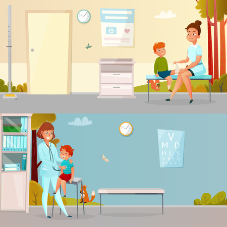 Kid visits doctor horizontal cartoon banners including boy with injured leg hearings of breathing isolated vector illustration Illustration