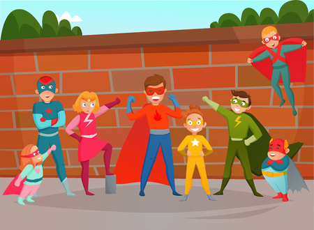 Kids superheroes composition with team of boys and girls in costumes on brick wall background vector illustration
