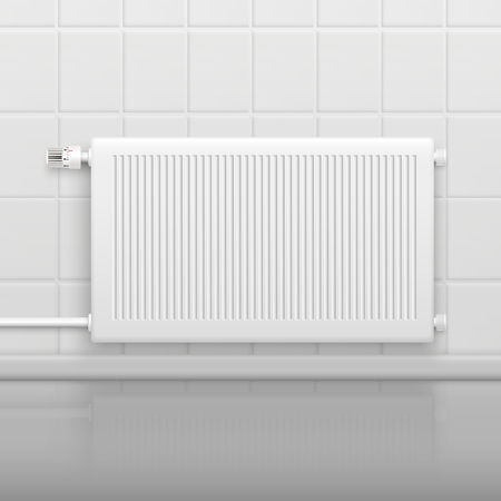 Hor water radiator with temperature control knob on tiled wall side view realistic image vector illustration