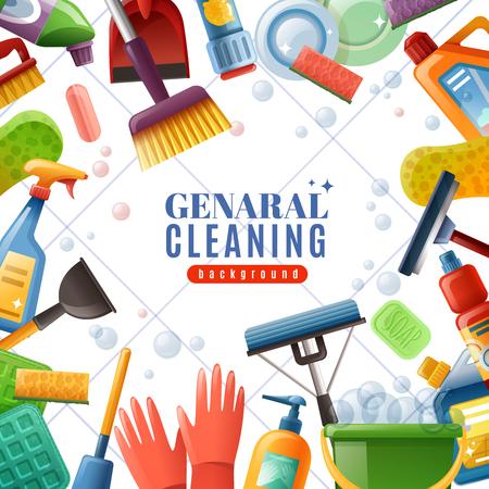Het algemene schoonmakende kader met dishware borstels veegt moppen af zepen chemische detergentia op witte geweven vectorillustratie als achtergrond