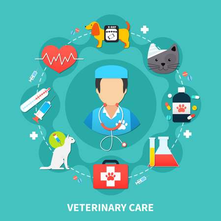 Pet care concept with vet and colorful veterinary icons on blue background flat vector illustration