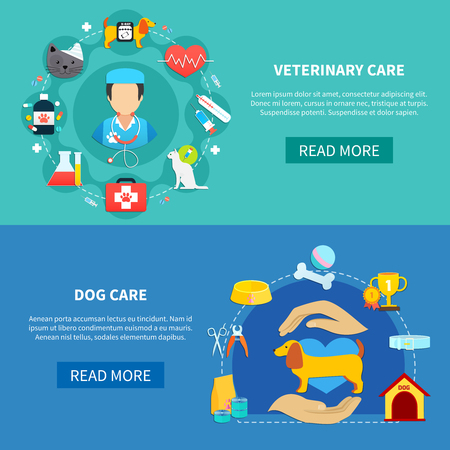 Veterinary care and accessories for pet dog horizontal banners flat isolated vector illustration Illustration