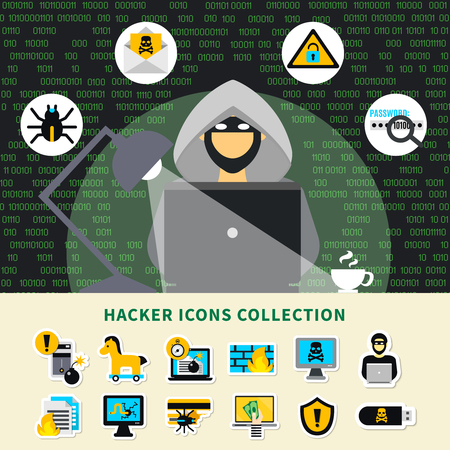 Hacker activity icons collection with hacker in hood at notebook and cracking systems symbols cartoon vector illustration