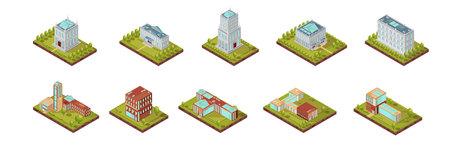 屋根に窓を有する大学の建物と木分離ベクトル図と周辺地域の等尺性セット