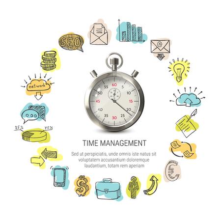 손으로 그려진 된 비즈니스 아이콘 시간 관리 라운드 디자인 흰색 배경에 고립 된 벡터 일러스트 레이 션 3d 초시계