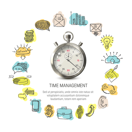 Time management round design with hand drawn business icons 3d stopwatch on white background isolated vector illustration