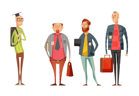 Teachers retro cartoon collection with smiling men in glasses with bags on white background isolated vector illustration Illustration