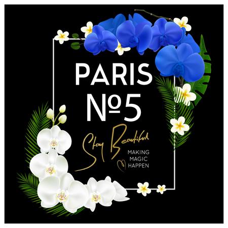Parijs 5 frame van parfum het decoratieve blauwe en witte bloeiende orchideeën op zwarte achtergrondontwerp realistische vectorillustratie Stock Illustratie