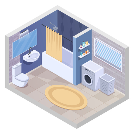 Bathroom isometric interior with realistic sanitary facilities and furniture with washing machine towel dryer and carpet vector illustration