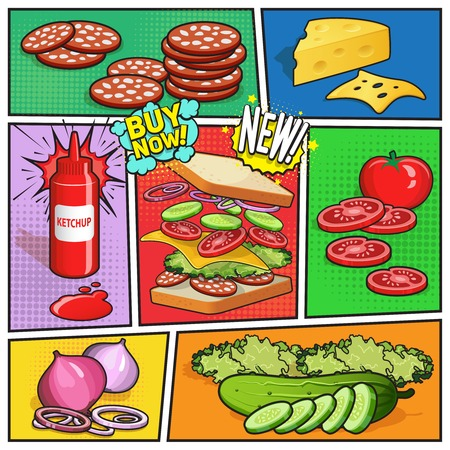 Comic book page with advertising of sandwich ingredients ketchup in bottle on divided colorful background vector illustration