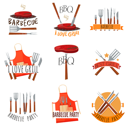 Colored isolated barbecue party label set with barbecue I love grill barbeque party and other descriptions vector illustration