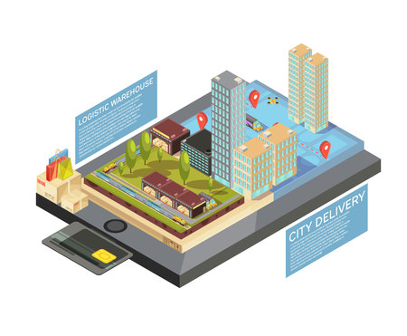 Isometric infographics with goods online, city delivery from warehouse to destination on mobile device screen vector illustration Illustration
