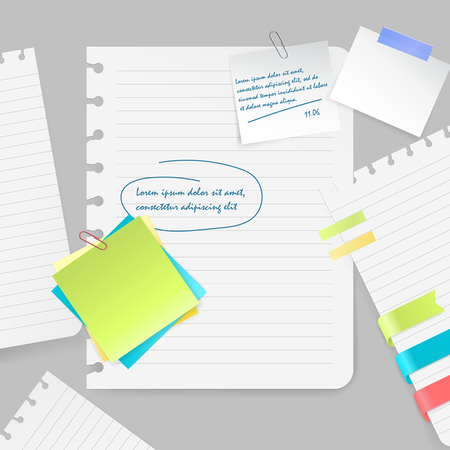Realistic composition of colorful blank sheets and pieces of paper with notes and tape on grey background vector illustration