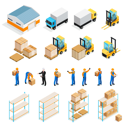 Warehouse isometric set including manager and workers, goods, trucks and forklifts, pallets and shelves isolated vector illustration Illustration