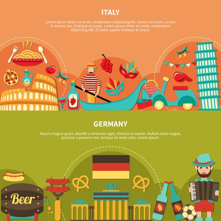 旅行のバナーはイタリア、ドイツ食品飲料と関心本文ベクトル図とフラット イメージの場所を設定  イラスト・ベクター素材