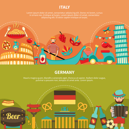 Travel banners set with italian and german food drinks and places of interest flat images with text vector illustration Фото со стока - 79221626
