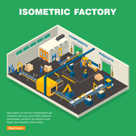 Conveyor line composition with equipment on green background isometric vector illustration