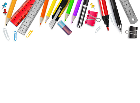 White background with different stationery items realistic vector illustration Ilustração