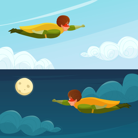 Horizontal banners with boy superhero flying on background of day and night sky isolated vector illustration Illustration
