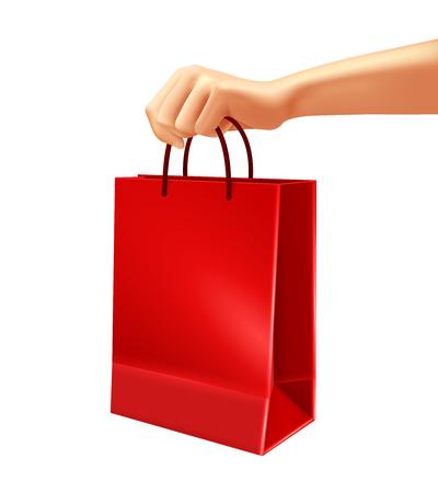 Hand holding blank red shopping bag from plastic or paper 3d design on white background vector illustration Çizim