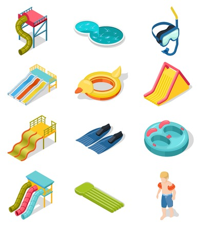 Colored and isolated aqua park isometric icon set with elements of place of entertainment vector illustration Illustration