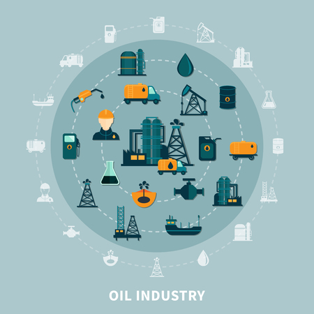 Oil industry composition with isolated flat icons and silhouettes of petroleum production transportation and storage facilities vector illustration