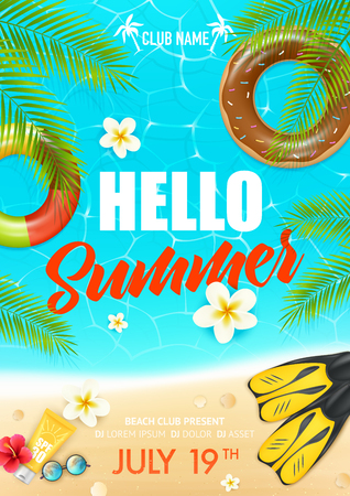Tropical summer vacation beach club colorful invitation poster  with lifebuoy ring suncream and hibiscus flowers vector illustration Illustration