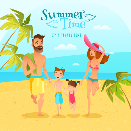 Happy family with two children spending summer season at seaside cartoon vector illustration