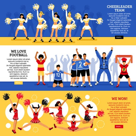 Football soccer sport clubs cheerleaders and supporters  information 3 flat horizontal banners webpage design isolated vector illustration Illustration
