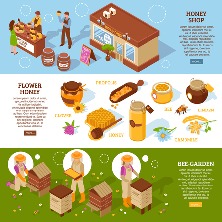 Bee garden farm with natural organic honey shop 3 horizontal isometric banners set webpage design vector illustration