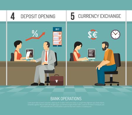 Bank kantoormedewerkers uitvoeren van verrichtingen van aanbetaling openen en valuta-uitwisseling plat vectorillustratie