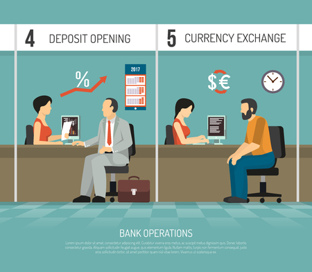 Bank office clerks performing operations of deposit opening and currency exchange flat vector illustration Иллюстрация