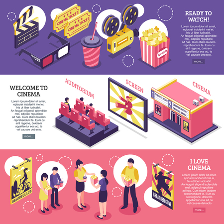 Cinema isometric horizontal banners with elements of cinematography equipment auditorium screen and people with popcorn vector illustration Ilustração