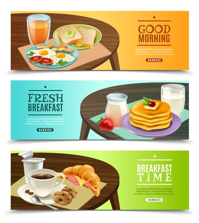 Set of horizontal banners with fresh breakfast on dark wooden table on bright background isolated vector illustration