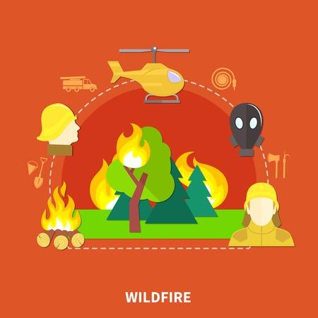 赤い背景のベクトル図にフラットなデザイン消火仕事と消防設備