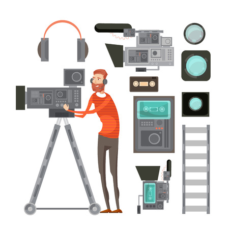 headset: Film cameraman with video equipment including tape headphones filters for objective lens vhs player isolated vector illustration