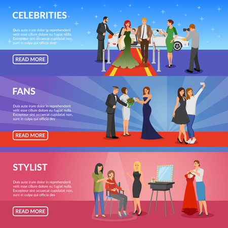famous actor: Celebrity horizontal banners set with superstar on red carpet fans making selfie with celebrity and stylist room flat vector illustration