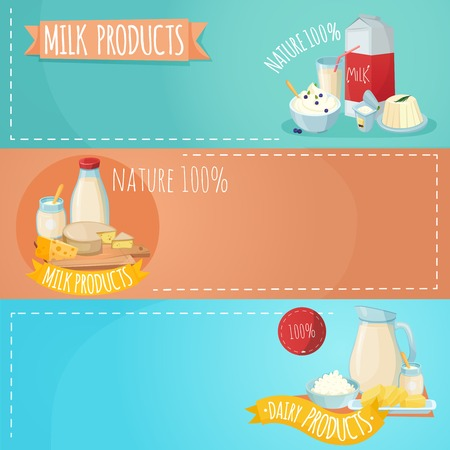 Set of horizontal banners with composition from milk products including sour cheese butter curd isolated vector illustration Illustration