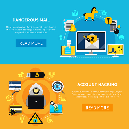 malicious software: Hacking flat horizontal banners with dangerous mail and account hacking decorative icons set vector illustration