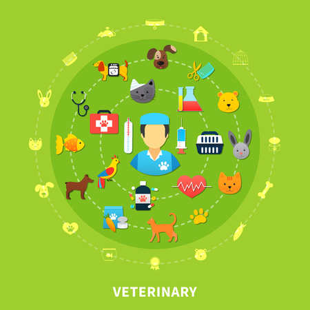 Colorful pet care concept with various veterinary icons on bright green background flat vector illustration