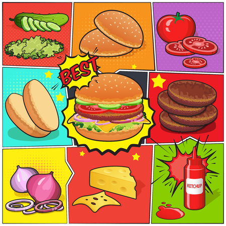 Comic book page with burger and ingredients including cutlets vegetables ketchup on divided colorful background vector illustration Ilustracja
