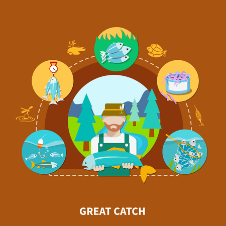 Fishing composition with squid silhouettes peterman character and round fish-tackle images connected by dashed lines vector illustration