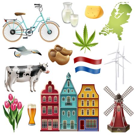 Olanda Paesi Bassi icona set di viaggio con più belle e popolari attrazioni del paese illustrazione vettoriale